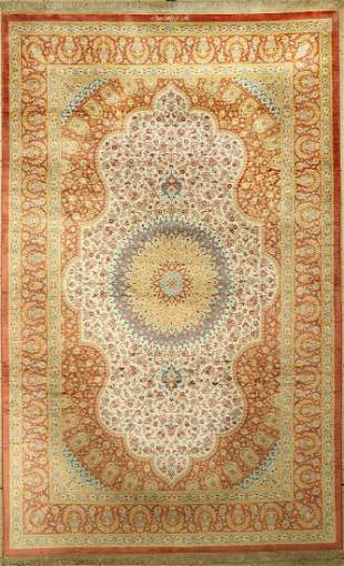 Qum silk fine signed, Persia, approx. 40 years, pure