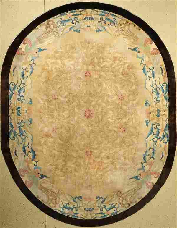 Oval Peking antique, China, around 1900, wool on cotton
