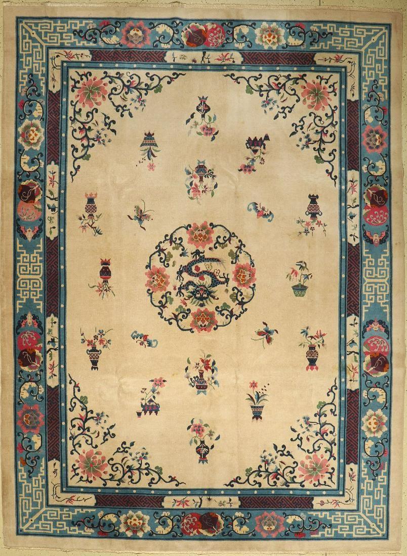 Peking dragon carpet antique, China, around 1910, wool