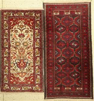 Two old Baluch, Persia, approx. 60 years, woolon cotton