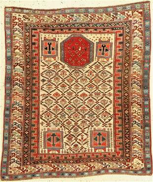 Schirwan Marasali antique, white-ground prayerrug