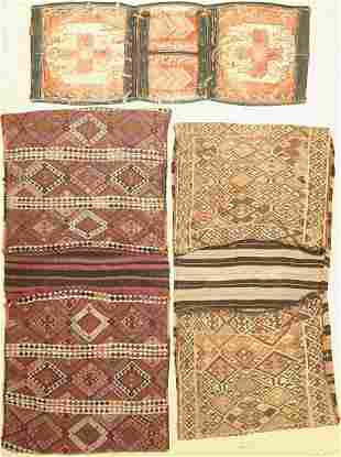 3 Turkish double bags, one with a leather attachment