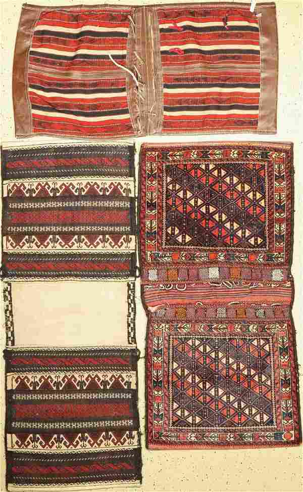 3 Persian double bags, one with leather attached
