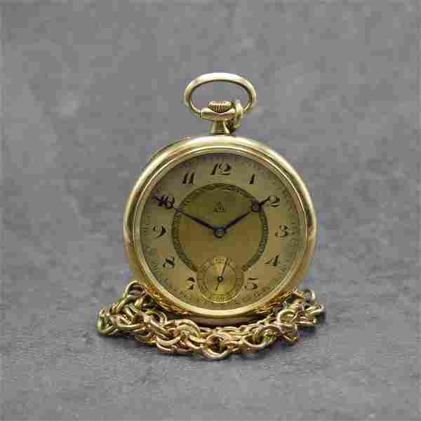 ALPINA open face 14k yellow gold pocket watch