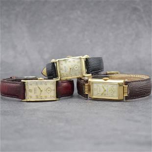 Set of 3 manual wound GRUEN wristwatches