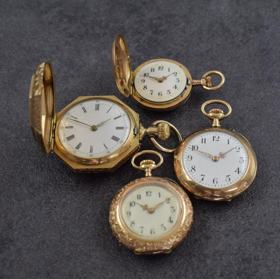 Set of 4 14k pink gold ladies pocket watches