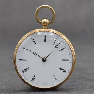 Open face 18k yellow gold cylinder pocket watch
