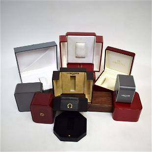 Set of 11 watch-boxes, thereof 4x Omega, 2x Longines