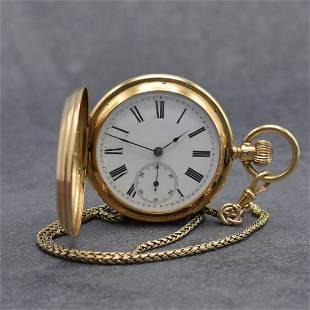 MONARD GENEVE 14k gold hunting cased pocket watch