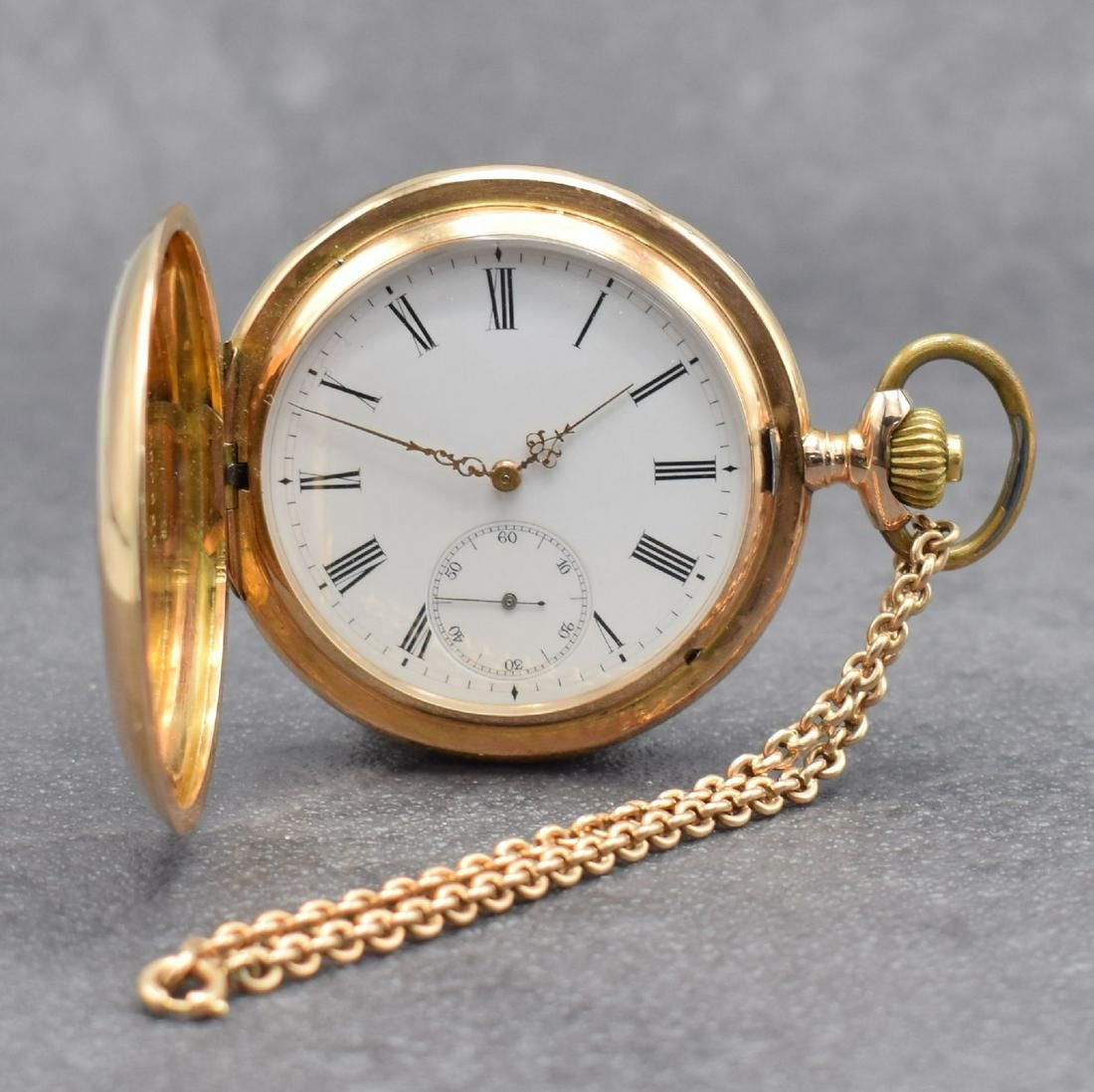 IWC 14k pink gold hunting cased pocket watch