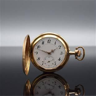 JANUS 14k pink gold hunting cased pocket watch