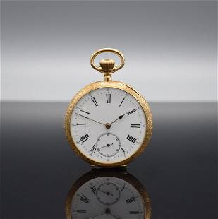 FRAM 18k pink gold open face pocket watch