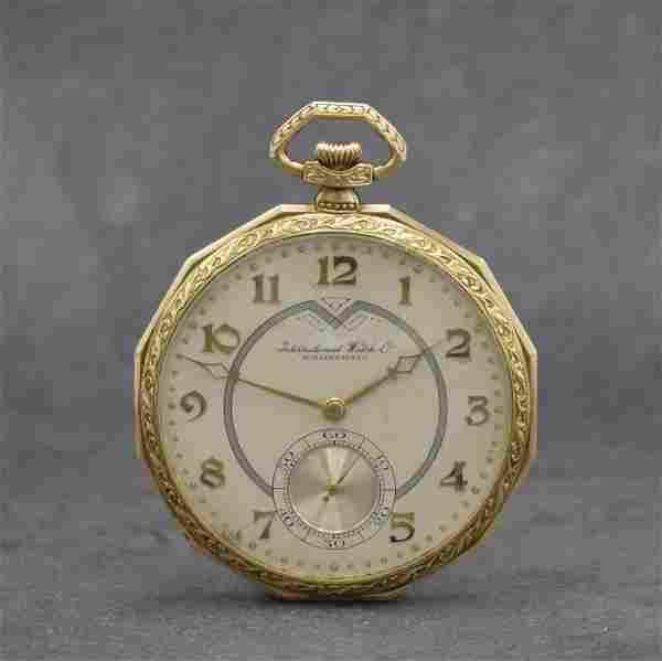 IWC 14k yellow gold open face pocket watch