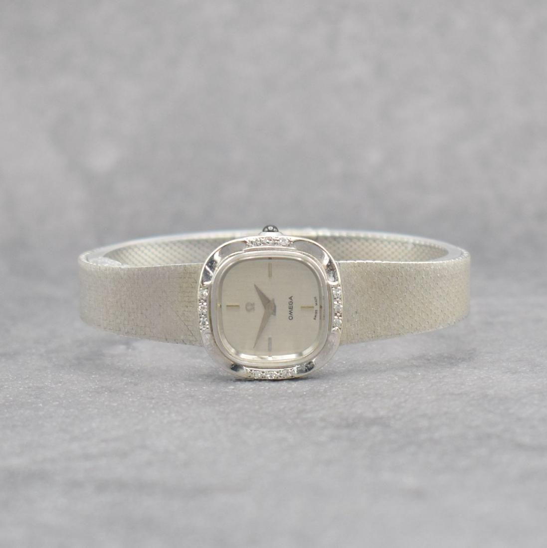 OMEGA 14k white gold ladies wristwatch