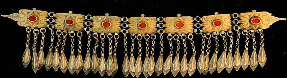 Tekke bonnet jewelry, (Manglaylik), antique