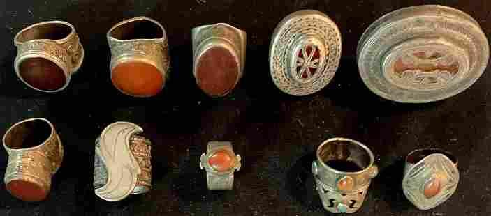 Convulot of 10 rings (Yuezuek), antique, Tekke and