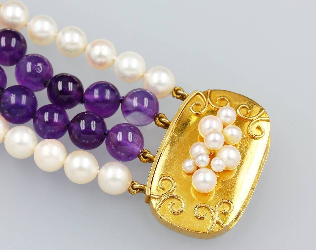 14kt Gold bracelet with pearls and amethysts