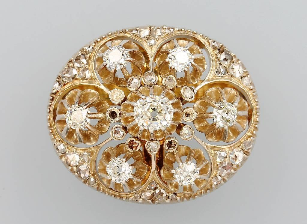 Antique 14 kt gold brooch from 1870