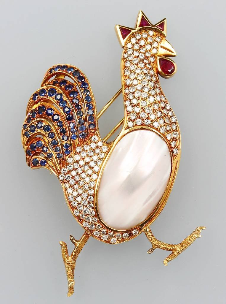 """18 kt Gold Brooch with sapphires and brilliants """"cock"""""""