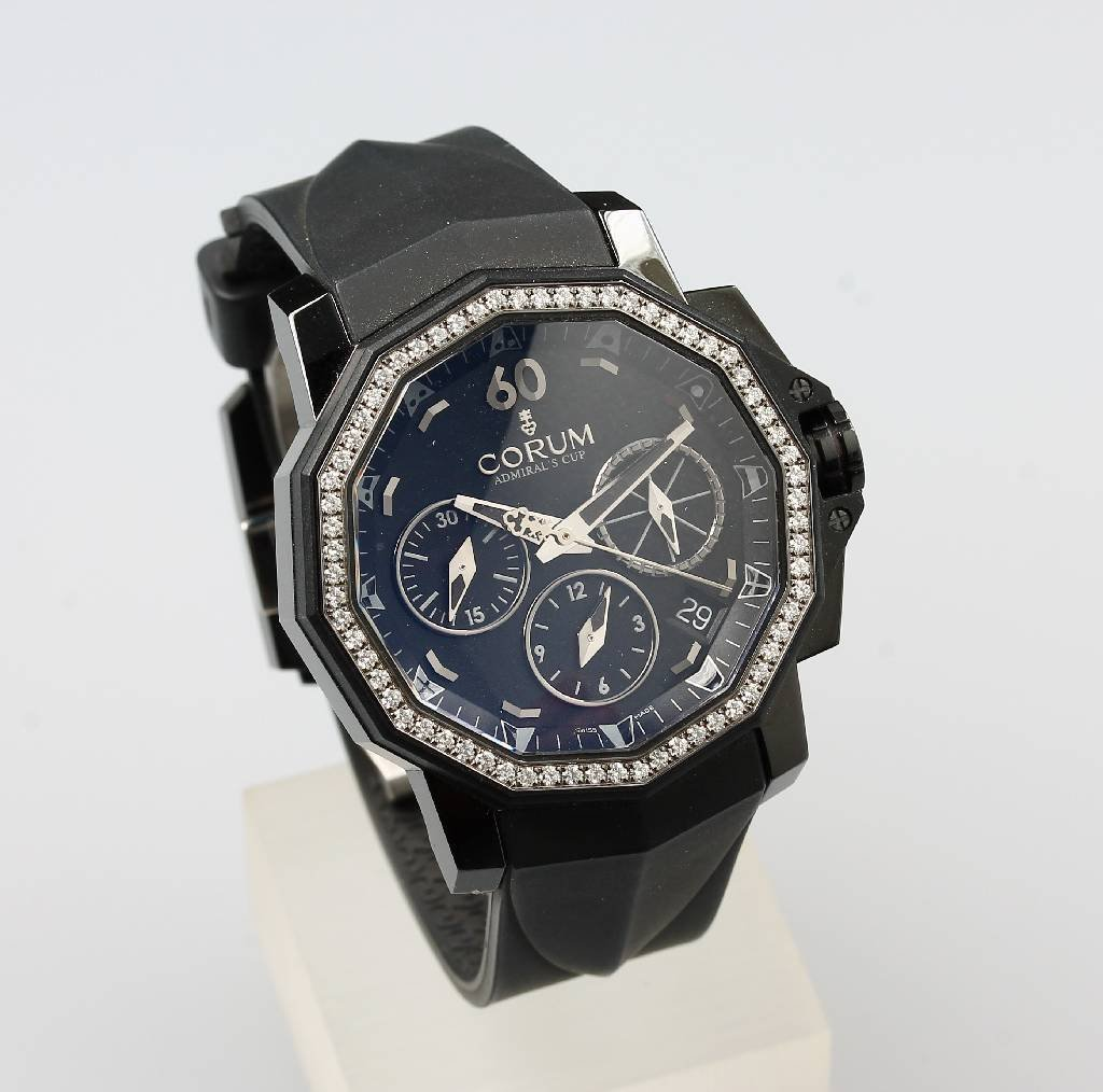 CORUM man's wristwatch Admiral`s Cup Challenger Black,