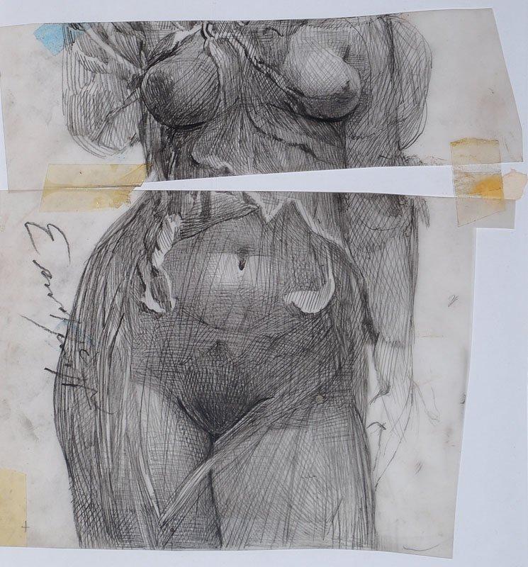 Ernst Fuchs, born 1930 Vienna, Torso, pencil drawing