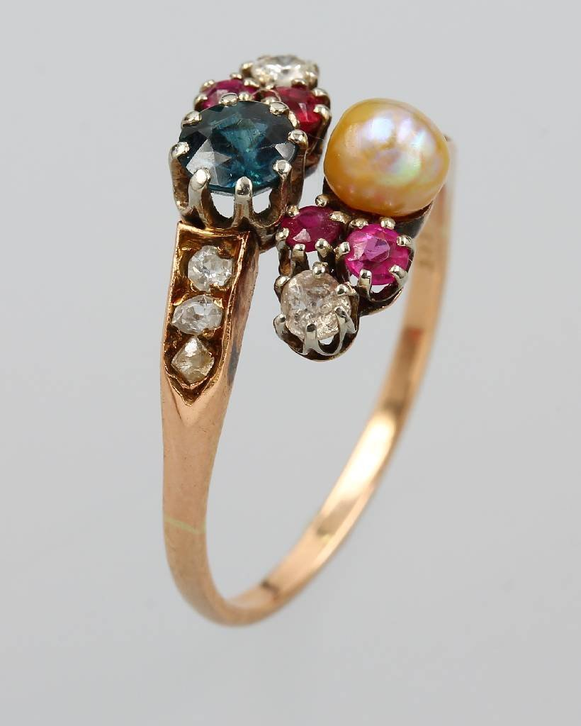 14 kt gold art nouveau ring with coloured stones,