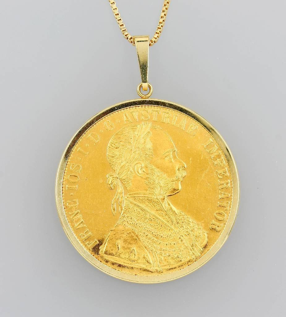 14 kt gold coin pendant, 4 ducats, Austria-Hungary