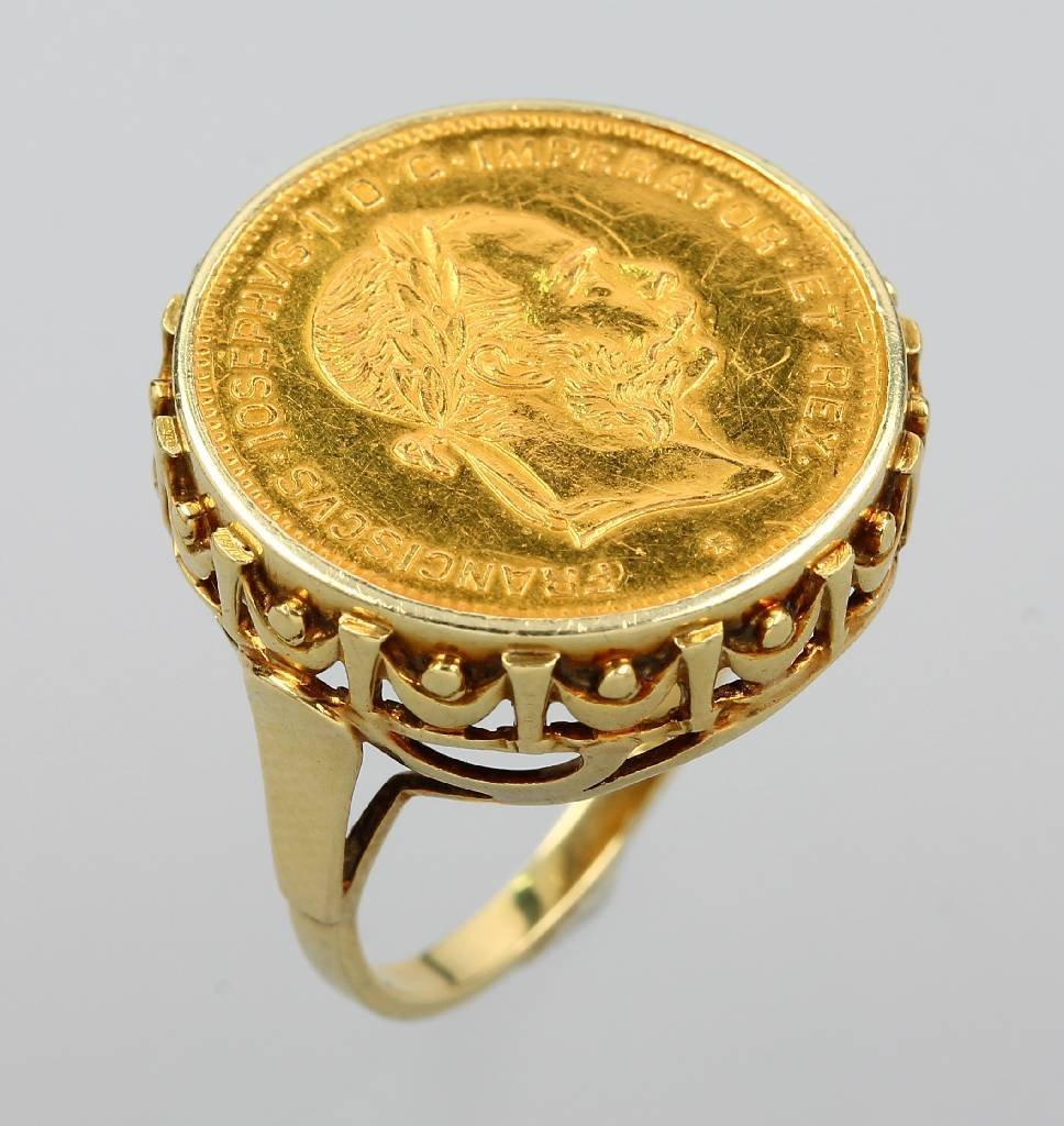 14 kt gold ring with coin, 4 Florin, Austria 1892