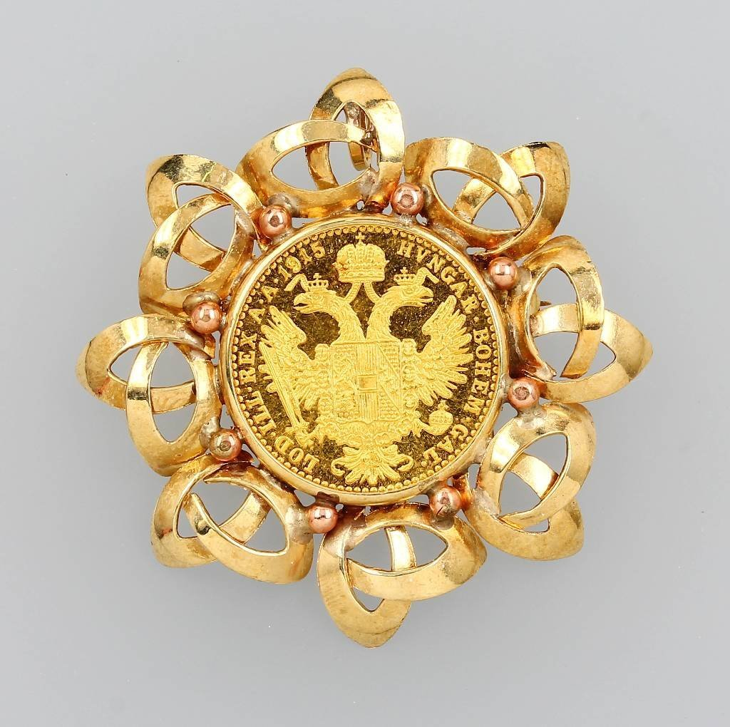 14 kt gold brooch with coin, 1 ducat, Austria-Hungary