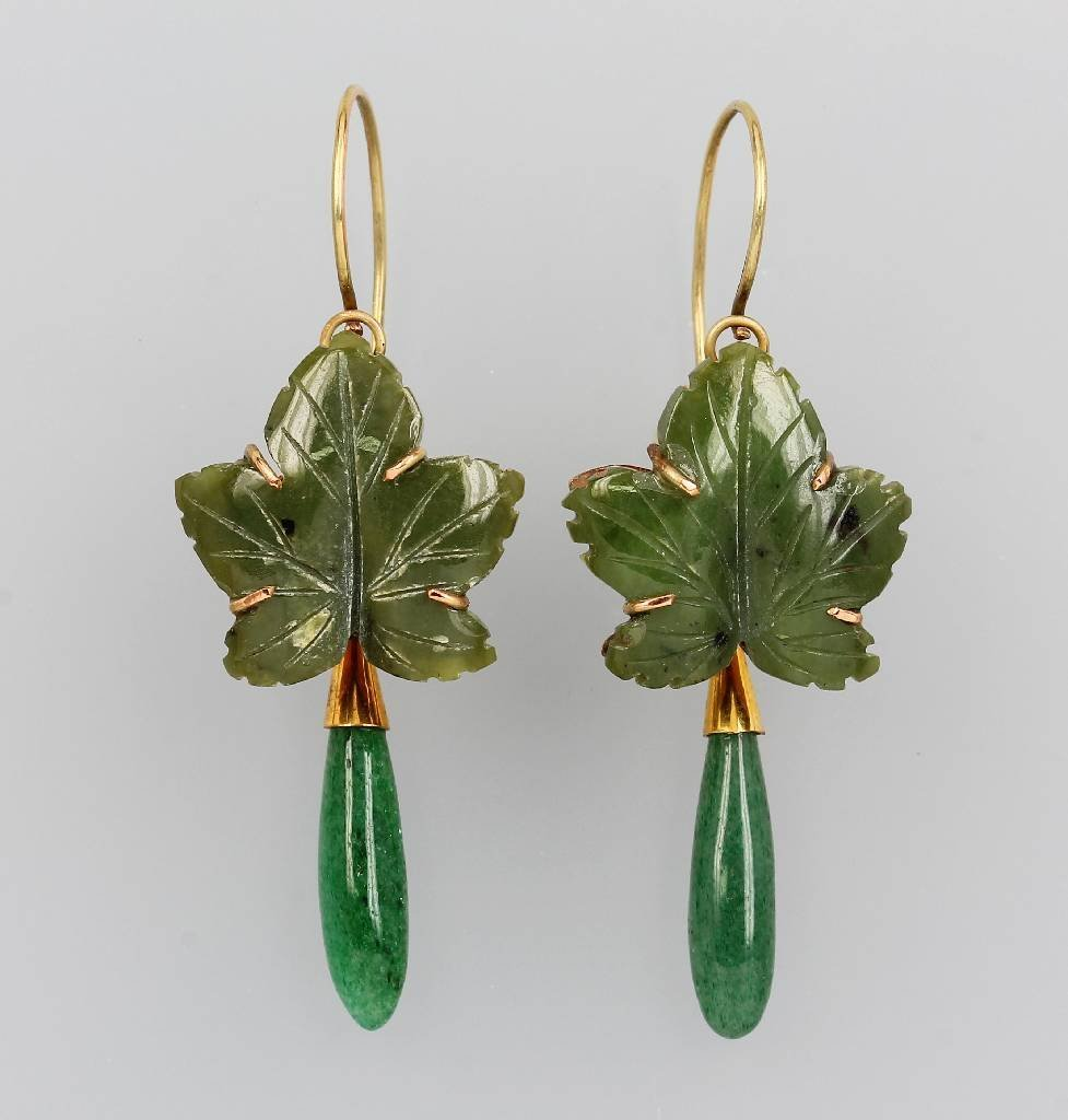 Pair of earrings with jade, China approx. 1960