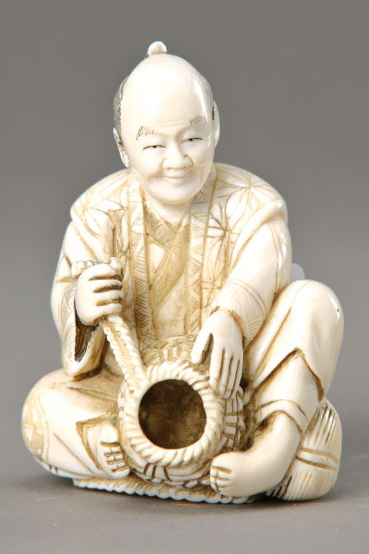 Ivory Carving, China, in 1890, Fisherman with fish