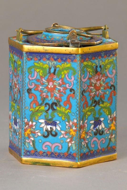 Teapot, China, 1900, floral decor, 6 sided shape,