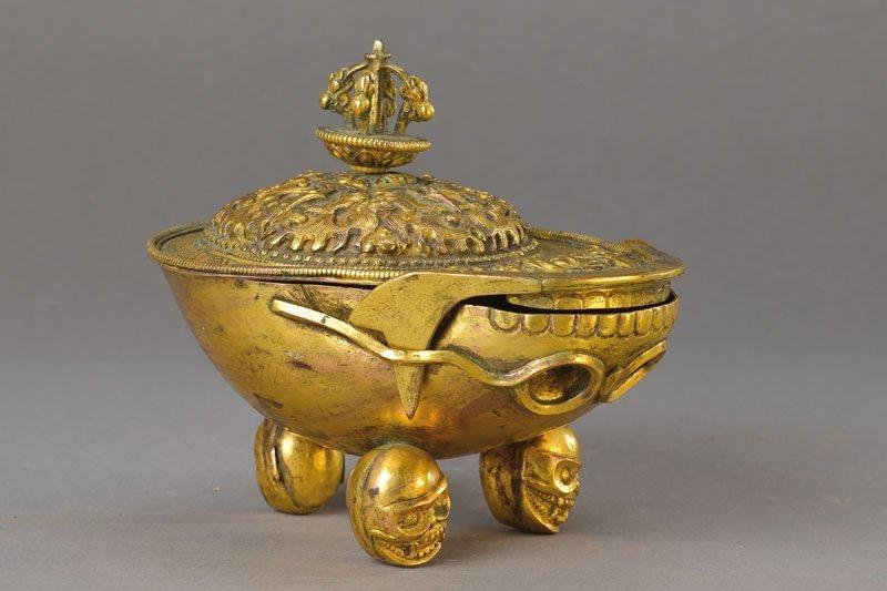 Kapala / skull cup, Tibet, 17./18th C.,