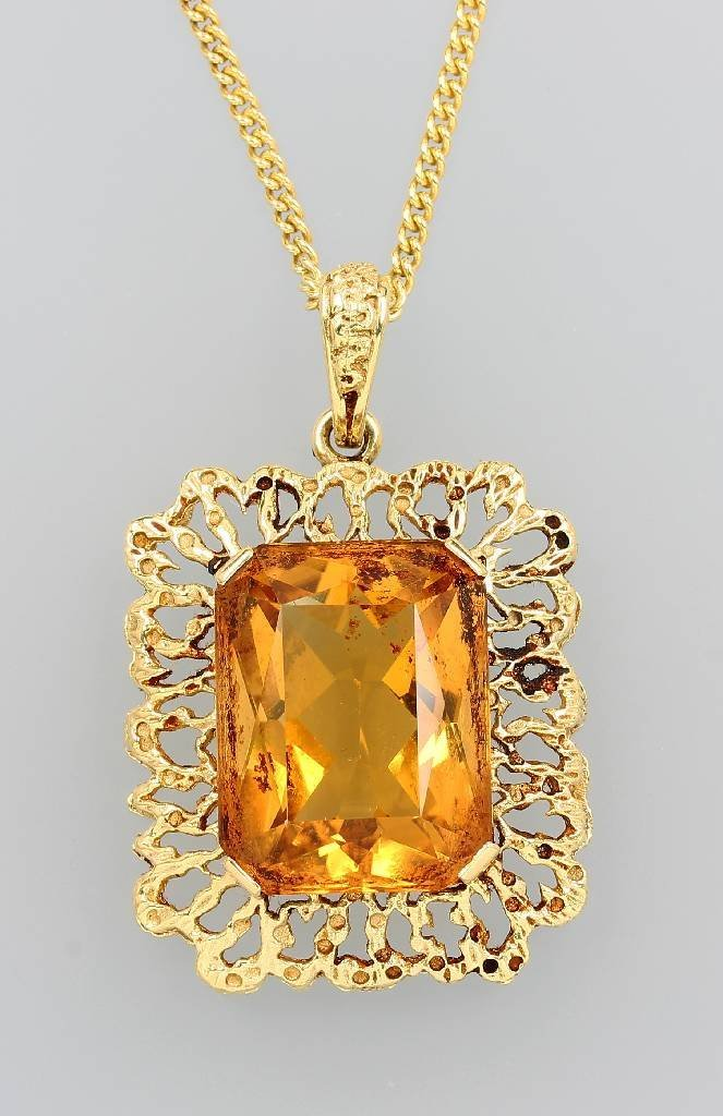 14 kt gold pendant with citrine, with chain