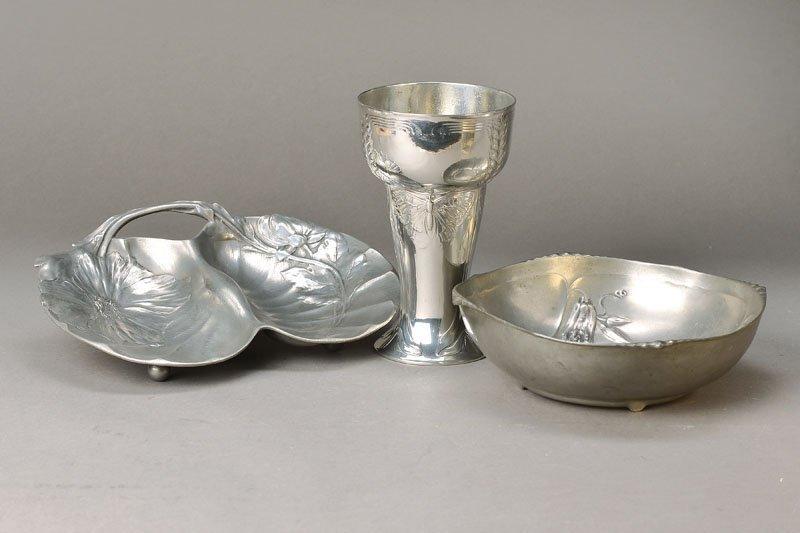Vase, bowl and seashell, Kayserzinn, to 1900/05