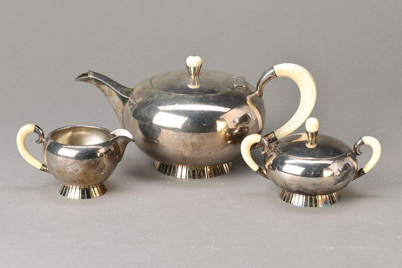 Tea set, Wilhelm Binder, 1930s, 925 silver