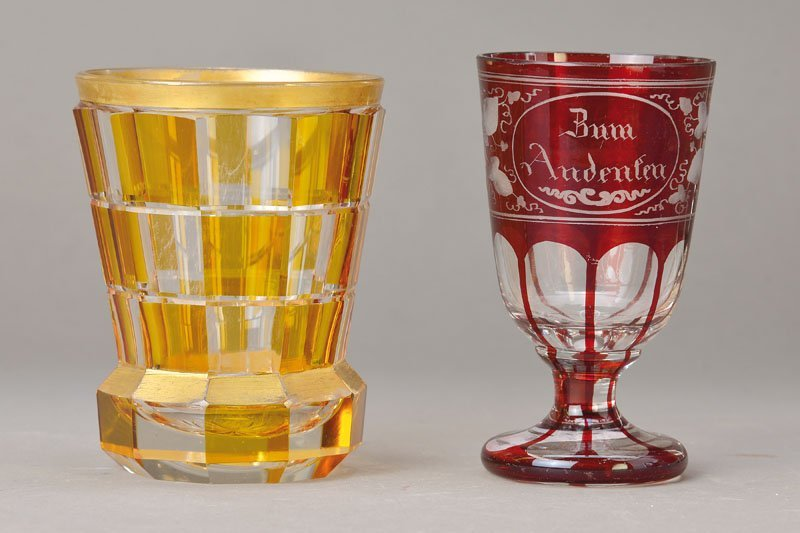 Two glasses, Bohemia, in 1900 and 1920s