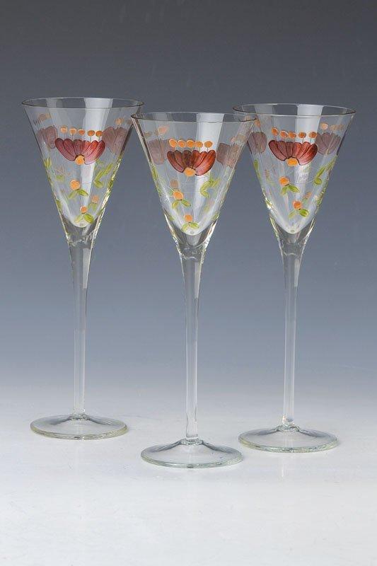 6 glasses, German, in 1900, glass