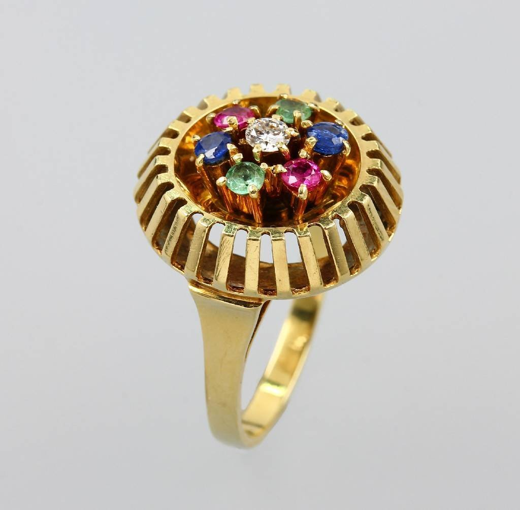 Ring with coloured stones, YG 585/000, german approx