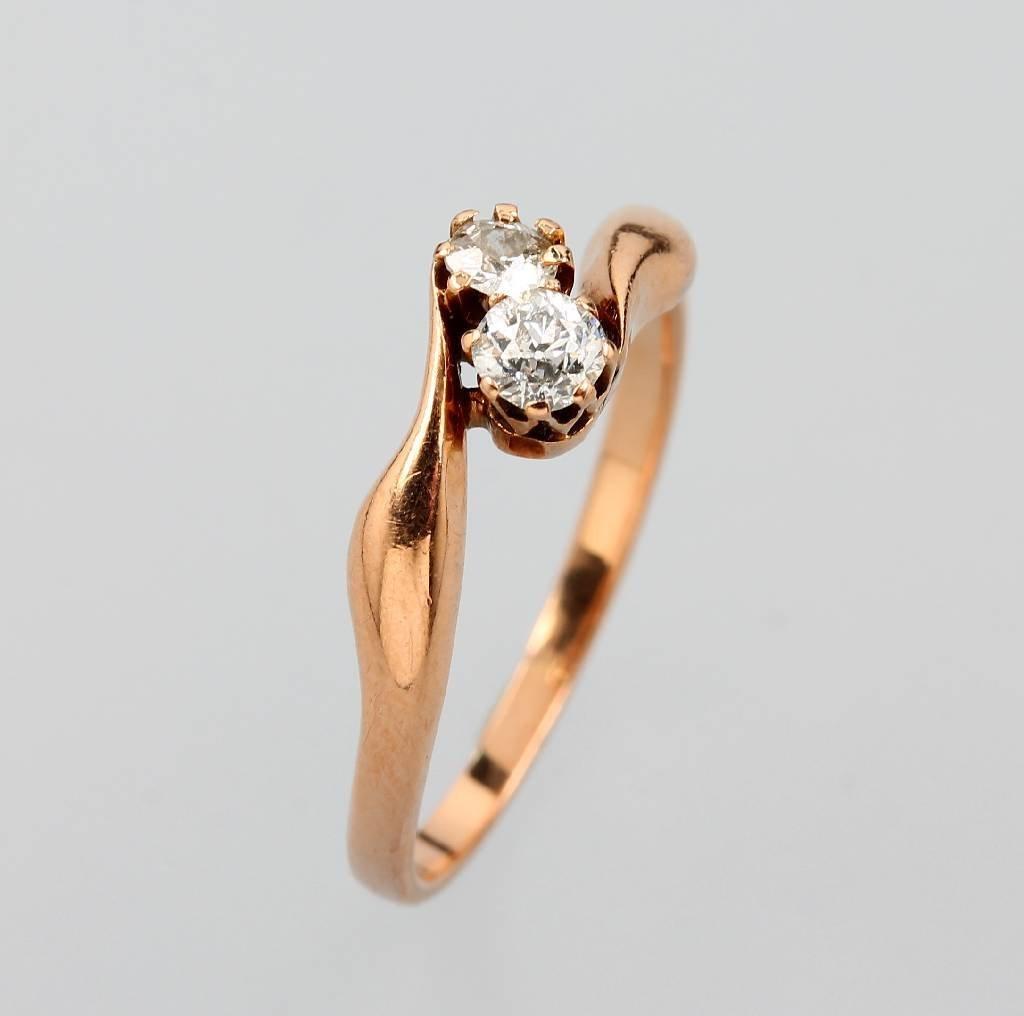 Art Nouveau ring with diamonds, RG 585/000, german