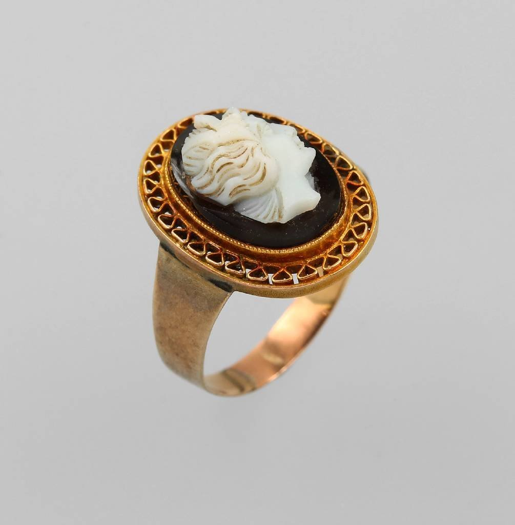 Ring with cameo, RG 333/000, Idar Oberstein approx