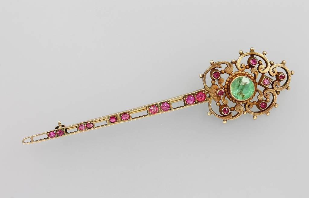 Brooch with coloured stones, silver 935 gilded