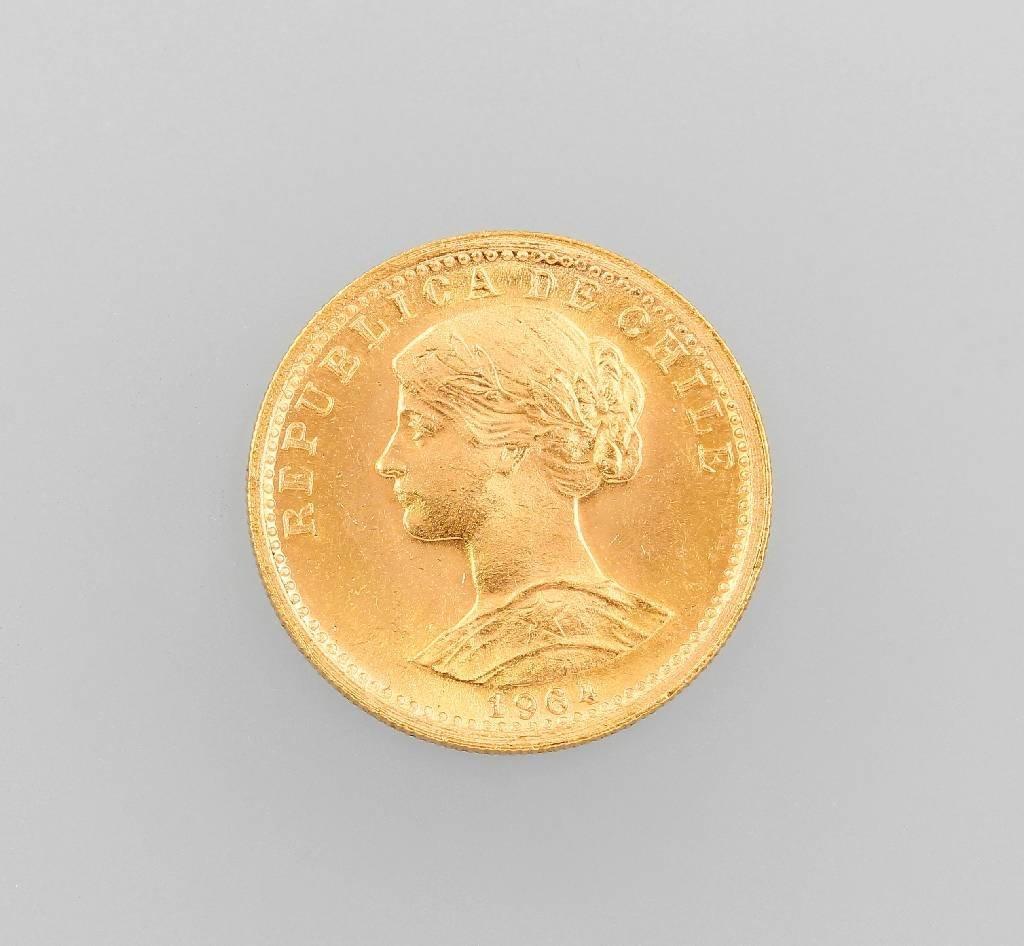 Gold coin, 20 Pesos, Chile 1964, Dos Condores,rv: