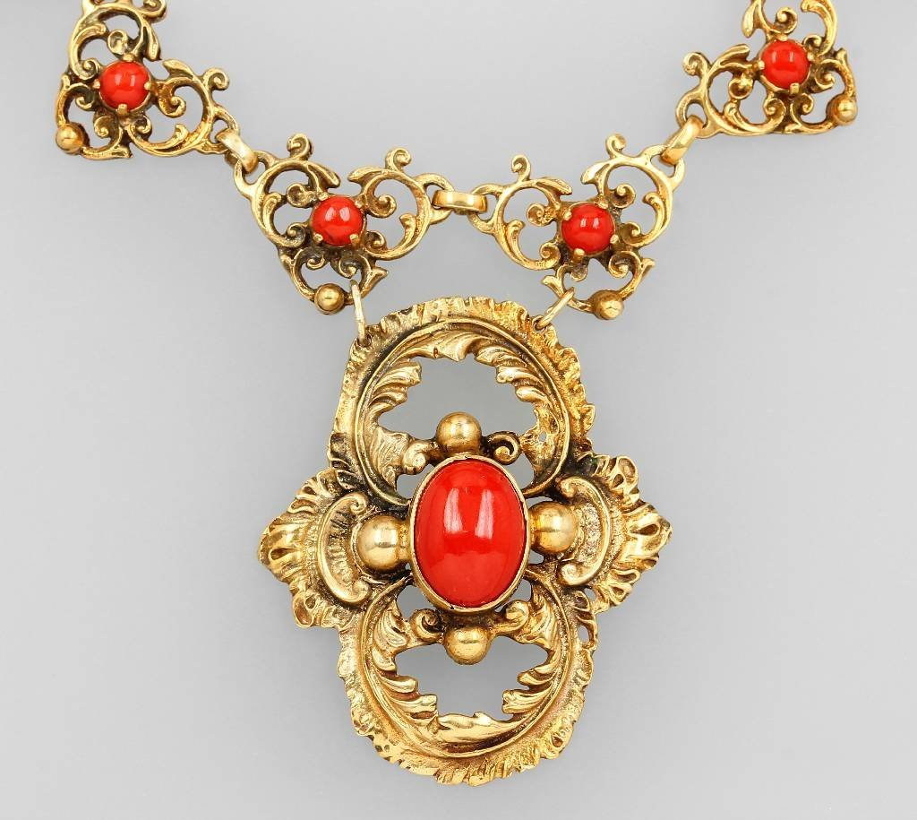 Necklace with corals, 800 silver gilded, german approx
