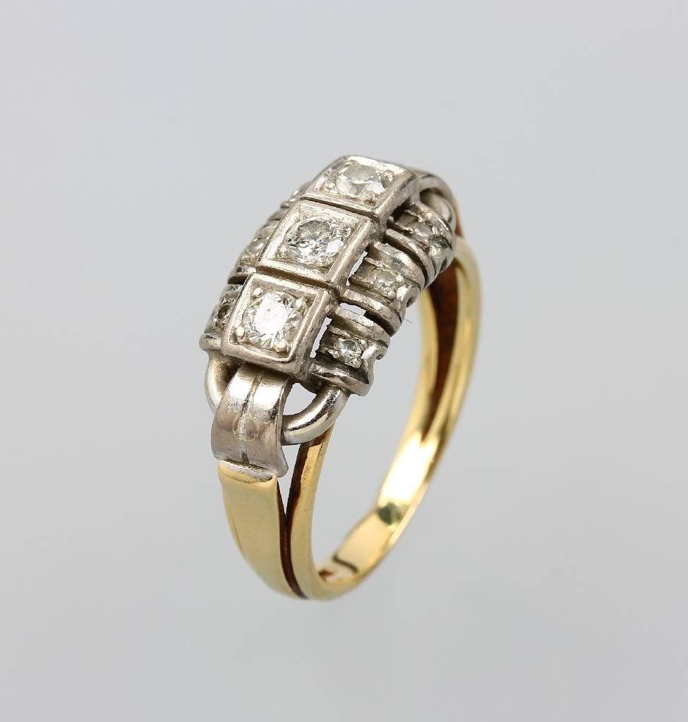 Ring with diamonds, YG/WG 585/000, 1930s, 3 brilliants