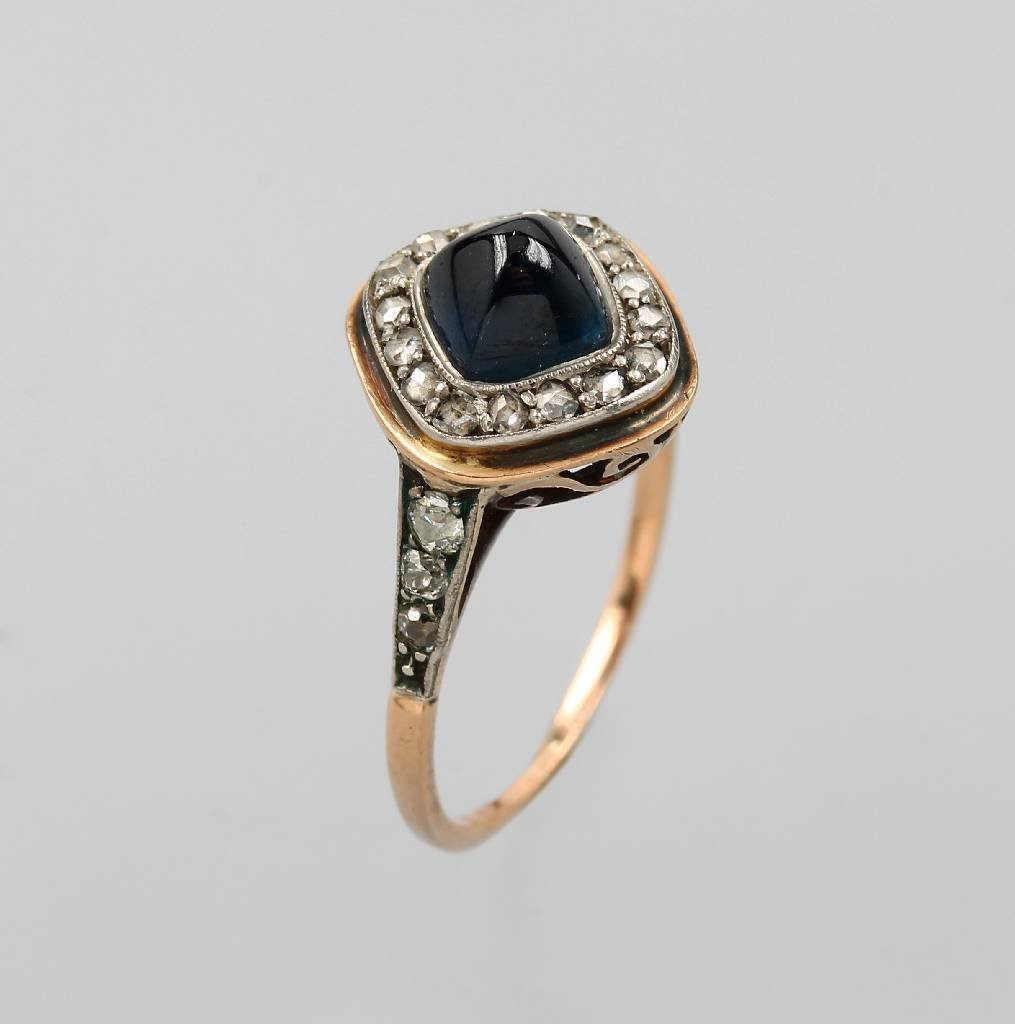 Ring with sapphire and diamonds, YG 585/000, tested