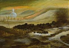 Werner Holz, 1948-1991, oil on canvas, view in winter