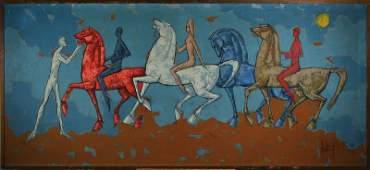 Tugomir Huberger, born 1931, horses, oil/canvas