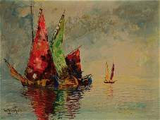 Unknown contemporary artist fisher boats oilcanvas