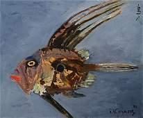 Shigeyoshi Koyama, born 1940, Fisch, oil/canvas
